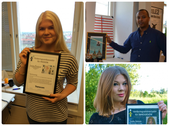 Transcom Sweden's Value Ambassadors for 2014 (from the left): Linnea Forslund, Desale Temesghen and Linda Jansson.