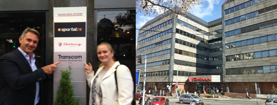 Matteo Ferrari (Country Manager Serbia) and Felicitas Meissner (Project Manager) outside the Transcom Serbia office.