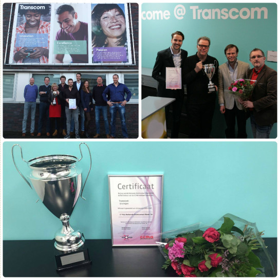 The proud management team of Transcom Netherlands receives the award in Groningen.