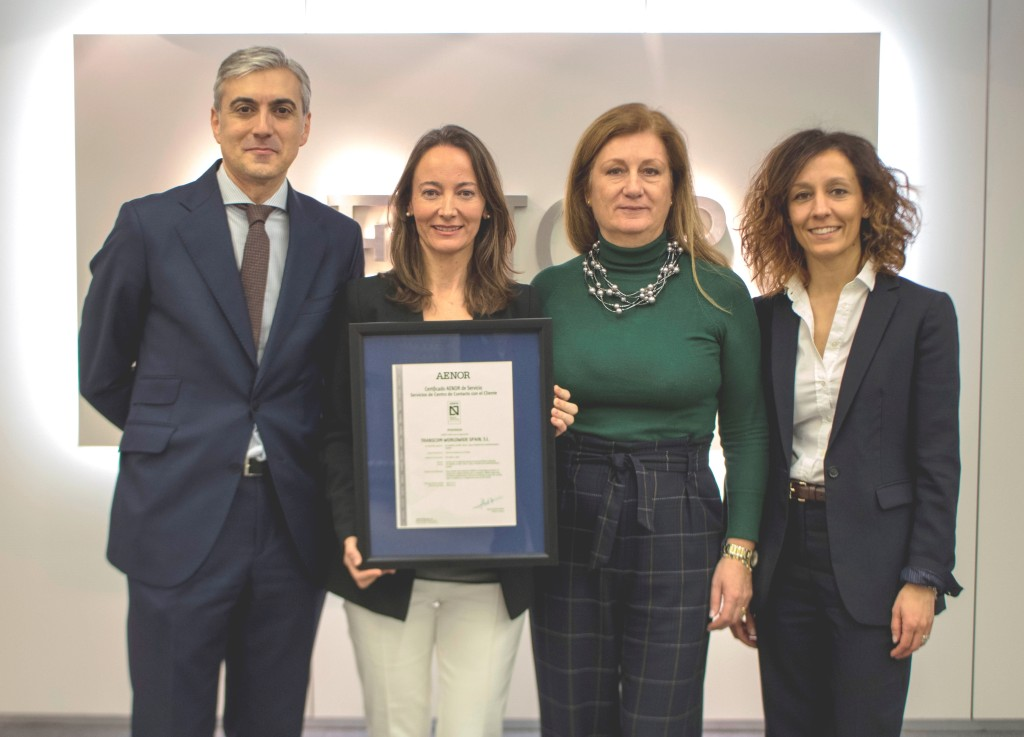 From left to right: Alberto Martínez, Commercial Director and Client Service Manager in Transcom; Cristina Martínez, Business Improvement Director and Head of Operational Excellence in Transcom; Rosa Ginesta, Business Manager in Transcom and Mónica Martínez, Operations Manager in Transcom